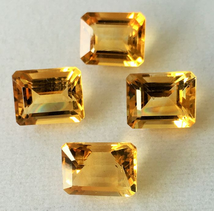 4 pcs Jaune Citrine - 18.27 ct