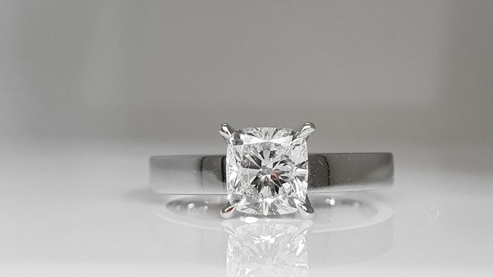 14 kt. White gold - Ring - Clarity enhanced 1.10 ct Diamond