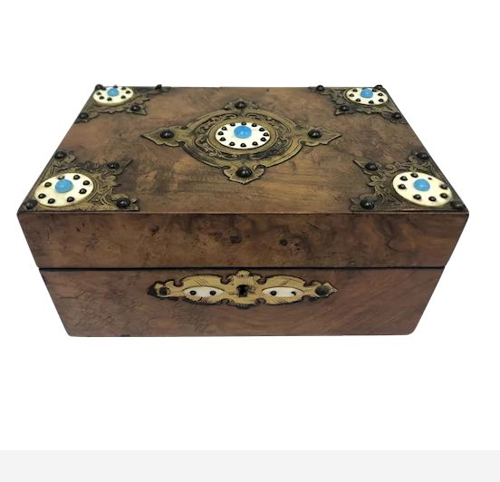 Document box with ivory plaque and turquoise stones + certificate - Napoleon III - Brass, Burr walnut, Ivory - Approx. 1870