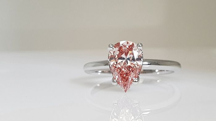 14 kt. White gold - Ring - Colour Treated 1.24 ct Diamond