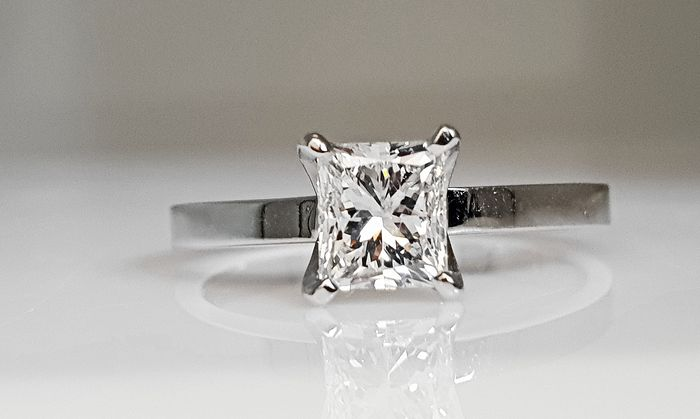 14 kt. White gold - Ring - Clarity enhanced 1.02 ct Diamond