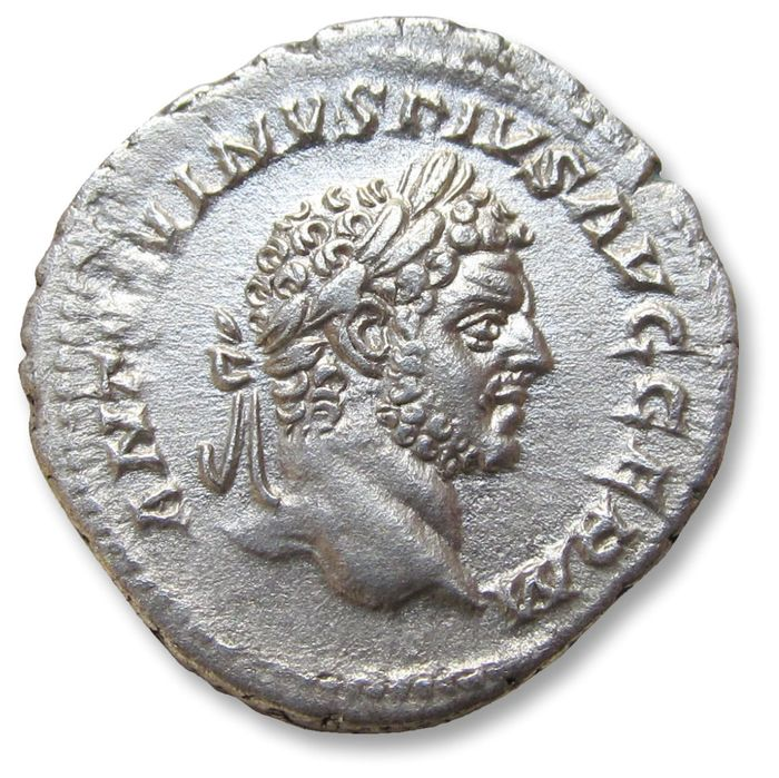 Roman Empire - AR denarius, Caracalla - high quality coin - Rome mint 214 A.D. - P M TR P XVII COS IIII P P Apollo seated left on throne - Silver
