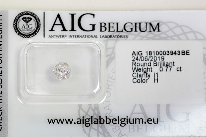 Diamant - 0.77 ct - Brillant - H - P1 - * NO RESERVE PRICE *