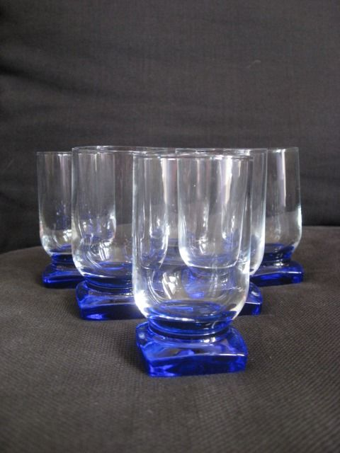 A. D. Copier - Shot Glasses with Blue Square Feet (6) - Art Deco - Crystal