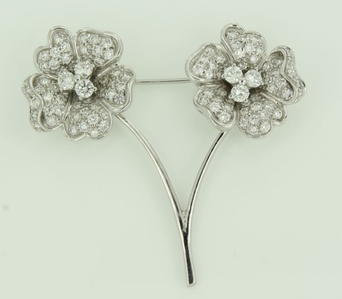 Leo Pizzo - 18 kt. White gold - Brooch - 3.00 ct Diamond
