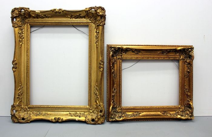 Two gold plated painting frames - lime wood