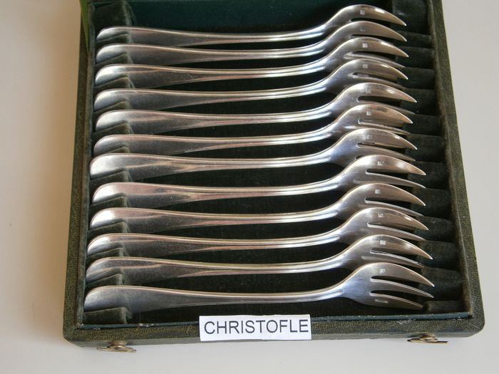 Oyster fork (12) - Silver plated - CHRISTOFLE - France - Second half 20th century