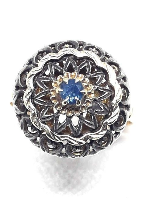 14 kt. Silver, Yellow gold - Ring - 0.15 ct Sapphire
