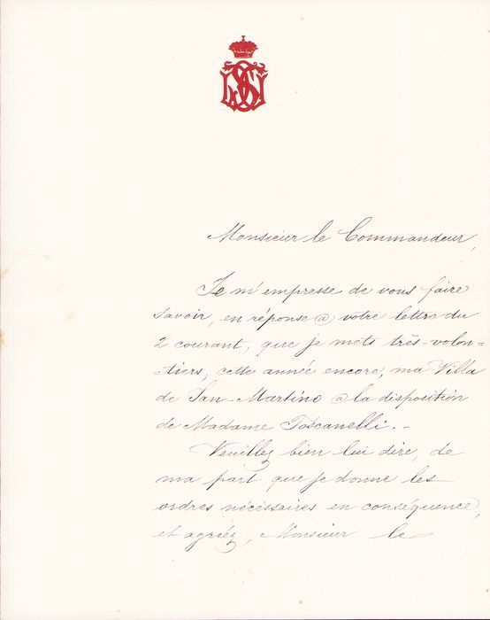 Prince Pavel Pavlovic Demidov / Paolo II Demidoff - Autograph; Availability of the San Martino Villa for Madame Toscanelli, from San Donato - 1879