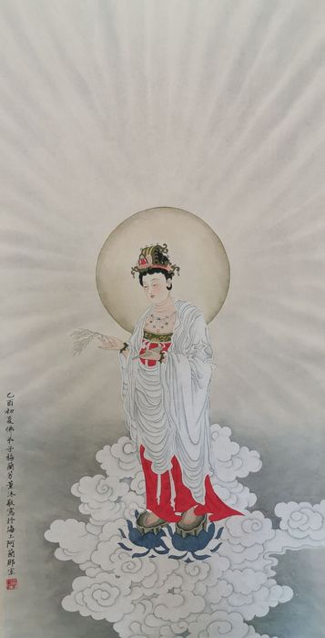 Ink painting - Rice paper - Bodhisattva - made after Mei Lanfang《梅兰芳-执瓶观音像》 - China - Second half 20th century