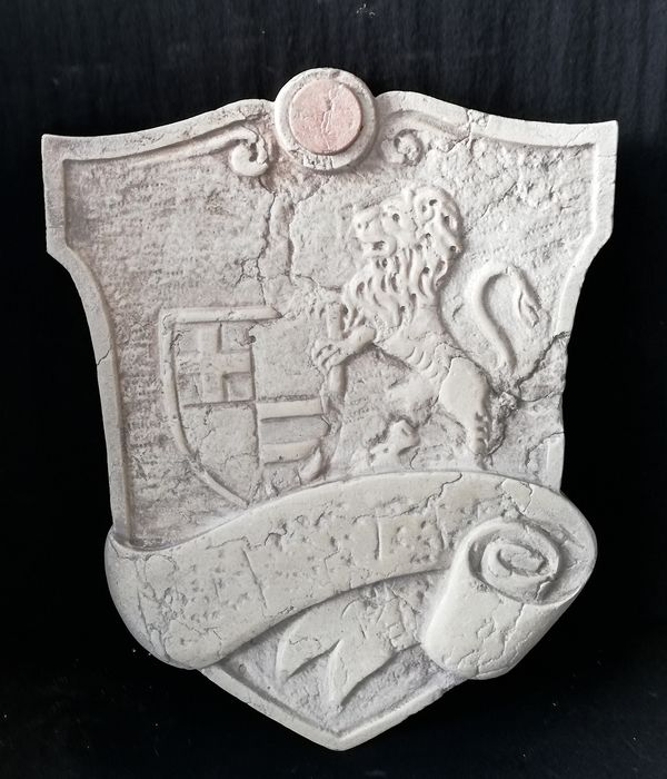 Venetian Herald Badge - 40 cm x 49 cm - Verona Red Marble and Red Marble - 20th century