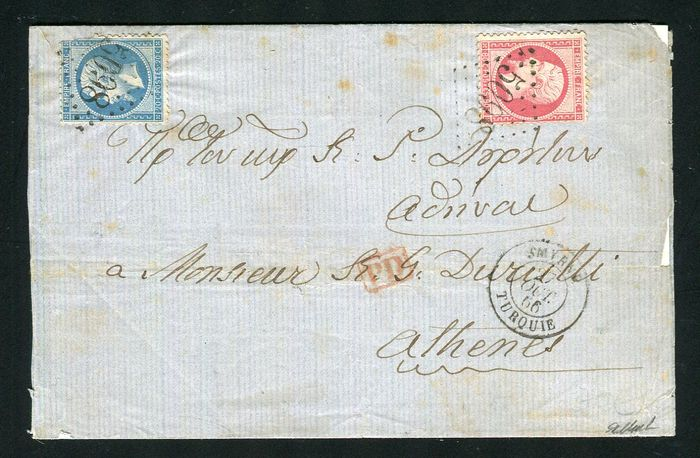 France 1866 - Rare letter from Smyrna to Athens with Nos. 22 & 24 - GC 5098 postmark