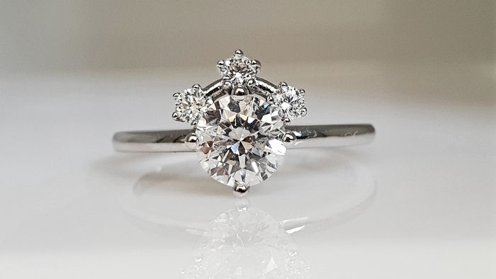 14 kt. White gold - Ring - Clarity enhanced 1.08 ct Diamond