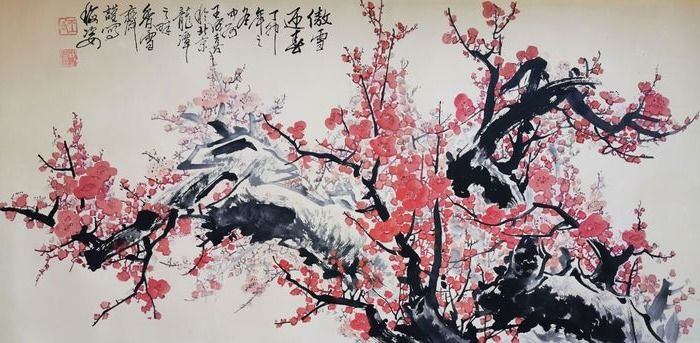 Ink painting - Paper - In style of Wang Chengxi王成喜 《傲雪迎春》  - China - 21st century