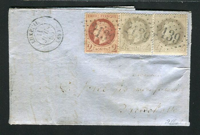 France 1865 - Rare letter from Luxeuil bound for Breuchottes with No. 26 & 27