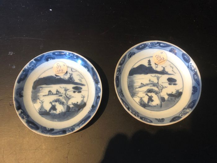 Dishes (2) - Blue and white - Porcelain - nanking Cargo - China - Qianlong (1736-1795)