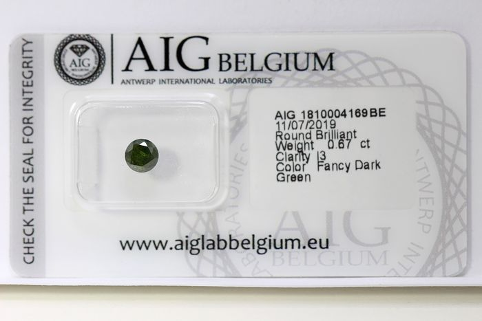 Diamond - 0.67 ct - Brilliant - ( Treated Color ) - * NO RESERVE PRICE *