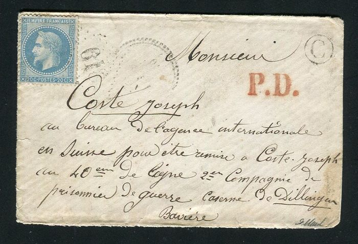 France 1870 - Rare letter from Breuil to a French prisoner in Dilligen, Germany via Switzerland