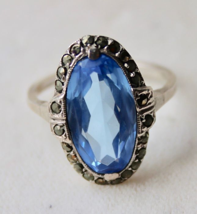 830 Silver - Ring - 4.00 ct Blue Spinel