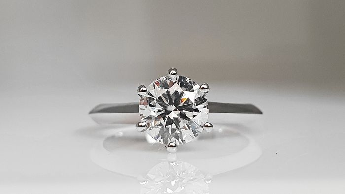 14 kt. White gold - Ring - Clarity enhanced 1.09 ct Diamond