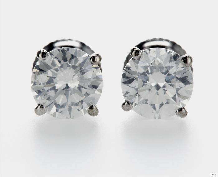 14 kt. White gold - Earrings - 2.00 ct Diamond