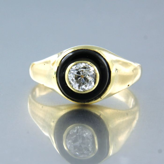 18 kt. Yellow gold - Ring - 0.40 ct Diamond - onyx