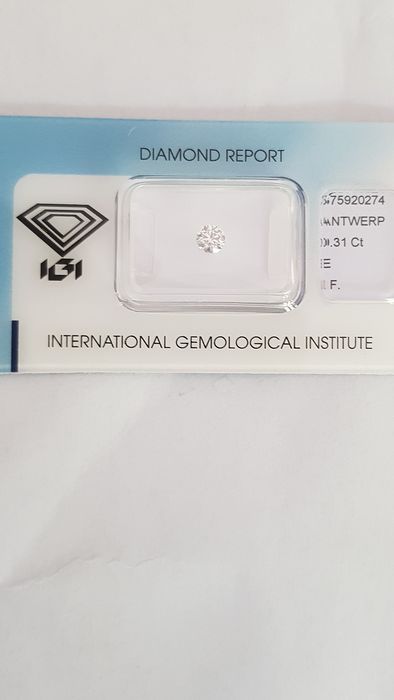 1 pcs Diamant - 0.31 ct - Brillant - E - IF (pas d'inclusions)