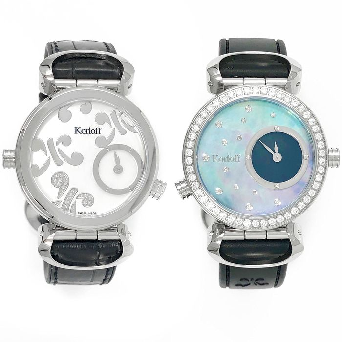 """Korloff - Reversible Diamonds for 1,14 Carat Cassiope Collection  White/ Blue Mother Of Pearl dials Swiss Made - LR3B/4D """"NO RESERVE PRICE"""" - Dames - Brand New"""
