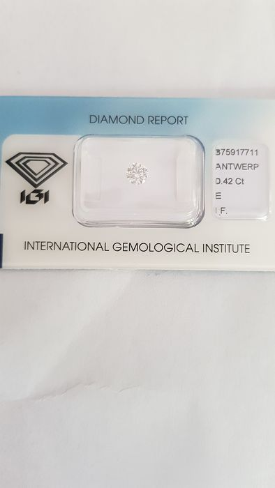 1 pcs Diamant - 0.42 ct - Brillant - E - IF (makellos)