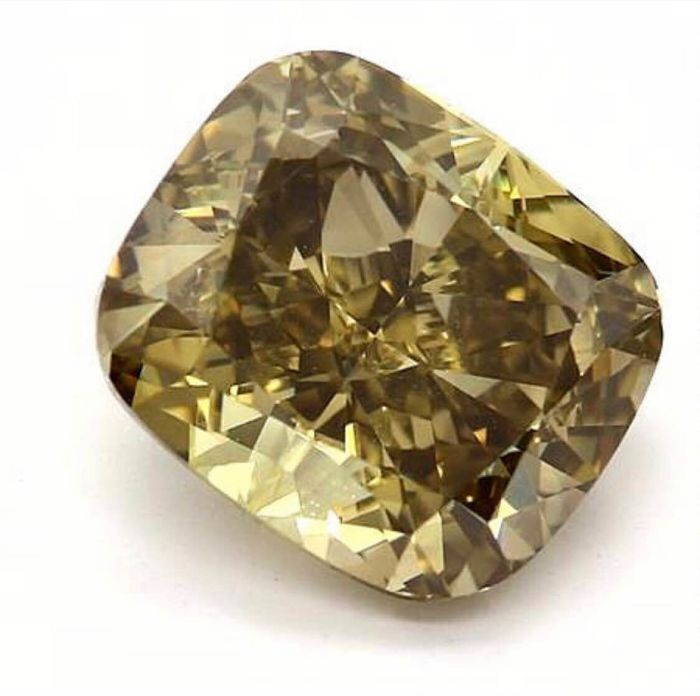 1 pcs Diamond - 2.11 ct - Cushion - fancy dark brown greenish yellow - VVS2