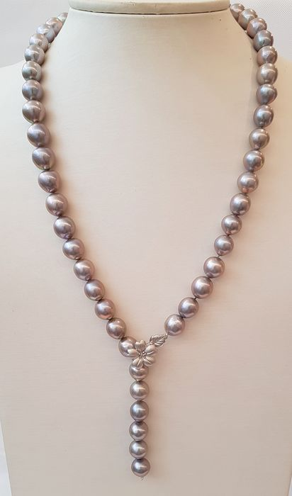 NO RESERVE PRICE - 925 Silver - 12x13mm Cultured Pearls - Necklace