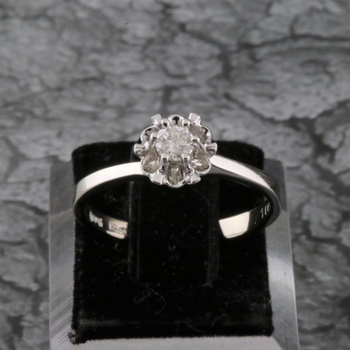 14 carats Or, Or blanc - Bague - 0.16 ct Diamant