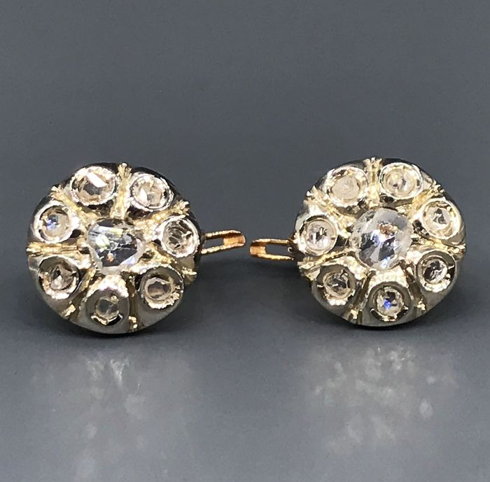 18 quilates Oro blanco, Oro rosa - Pendientes - 0.50 ct Diamantes de talla antigua