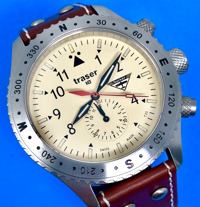 Traser - T5 Aviator Jungmeister Chronograph with Leather Strap Swiss Made - 100190 - Homem - Brand New