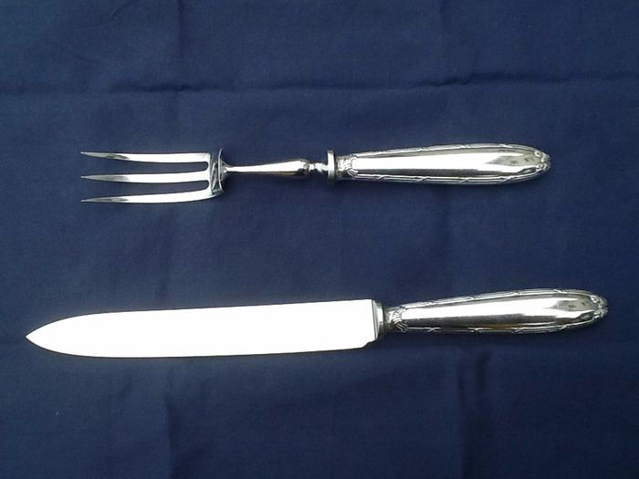 Christofle fork and cutting knife (2) - silver plated - France - First half 20th century