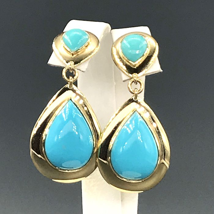 18 carats Or blanc, Or jaune - Boucles d'oreilles Turquoise