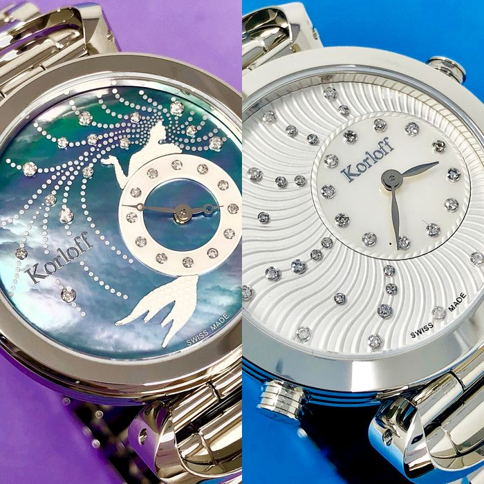Korloff - Reversible Diamonds for 0.28 Carat Mother Of Pearl Dial Swiss Made - LM5/6BR - Dames - Brand New