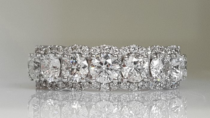 14 kt. White gold - Ring - Clarity enhanced 3.71 ct Diamond