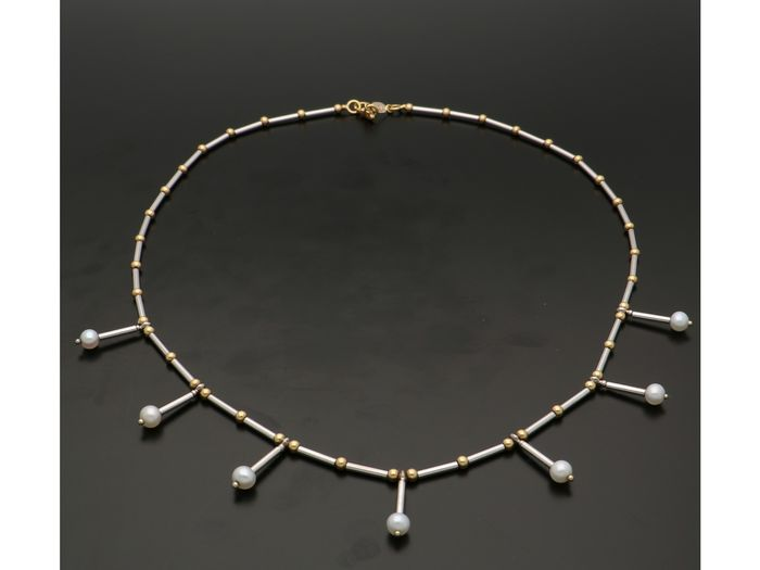 Rizit Gioielli - 18 kt. Bicolour, White gold - Necklace Pearl