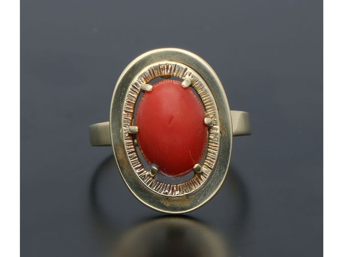 14 kt  Yellow gold - Ring Blood coral - Catawiki