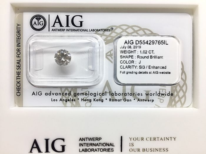 1 pcs Diamond - 1.02 ct - Brilliant, Round - J - SI3