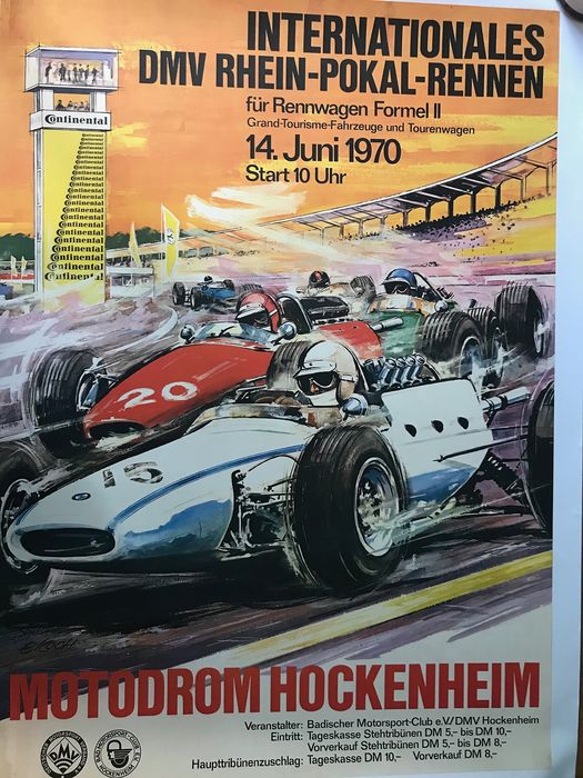 période Affiche originale - 1970 Hockenheim Grand prix Original Poster  F2 Linen Backed - 1970-1970