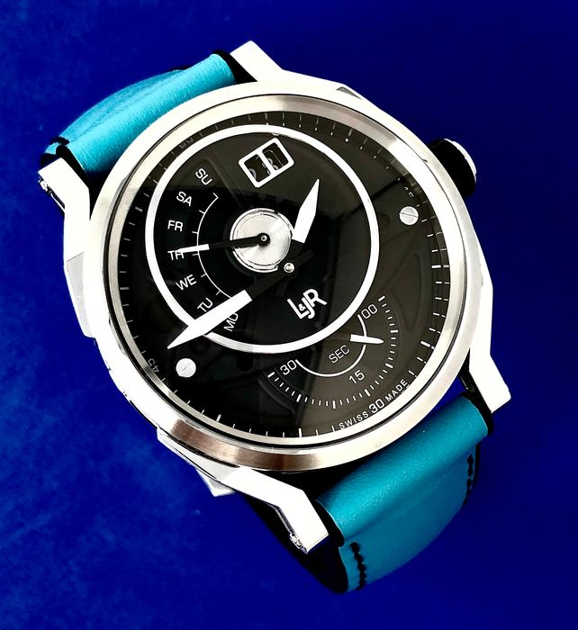L&JR - Day and Date Watch Miami Blue Summer Edition - 1302-S9 - Homem - Brand New
