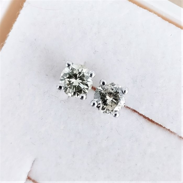 18 quilates Oro blanco - Pendientes - 0.63 ct Diamante
