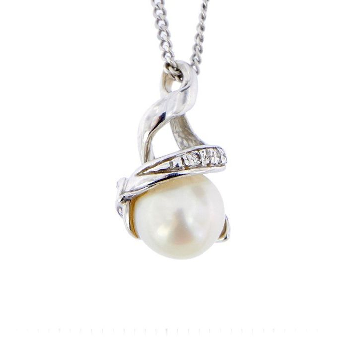 Miluna - Made in Italy - 18 kt. Freshwater pearl, White gold - Necklace with pendant Diamond - Pearl
