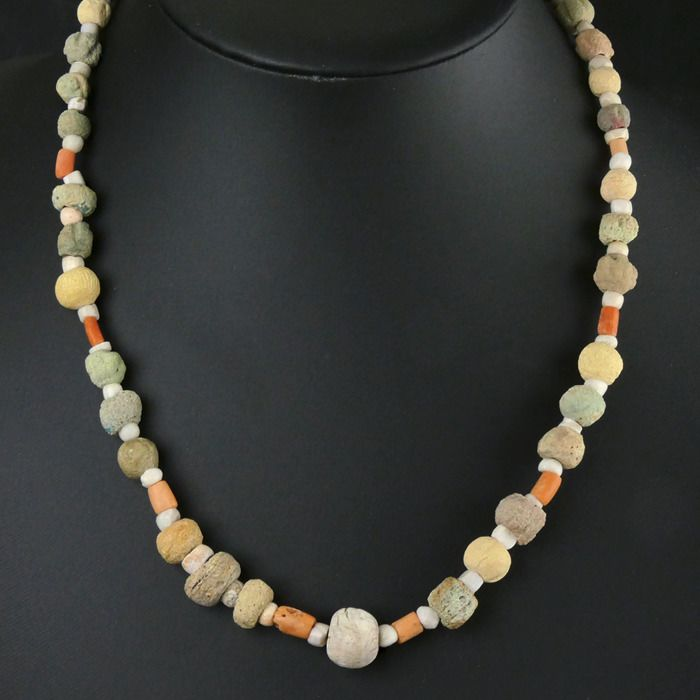 Ancient Egyptian Faience Necklace with faience, coral, shell and stone beads - (1)