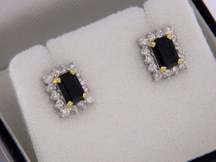 evagold - 18 kt. White gold, Yellow gold - Earrings Sapphire
