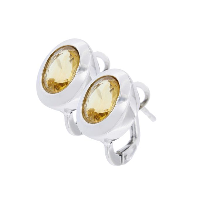 Le-Gi - Made in Italy - 18 kt. White gold - Earrings - 2.00 ct Citrine