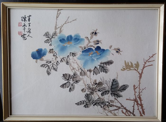 Woodblock print (1) - Paper - Blue Roses - China - Second half 20th century