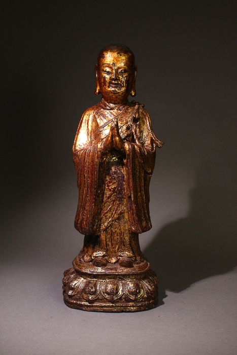 Lohan - Gilt bronze - China - Ming Dynasty (1368-1644)